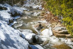 An icy creek runs through a early spring landscape royalty free stock image