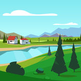 Spring rural farm riverside scenic with mountains Royalty Free Stock Photos