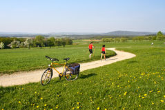 Spring in rural Germany. Enjoying the first warm days in spring Royalty Free Stock Photos