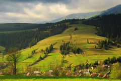 Spring rural landscape in the Carpathian mountains stock photos