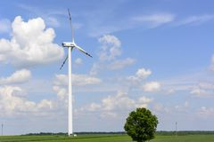Spring landscape with wind turbine Royalty Free Stock Photo