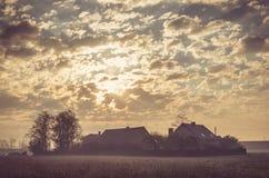 Spring rural landscape in vintage style. Stock Image