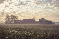 Spring rural landscape in vintage style. Stock Photo