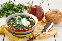 Spring russian cold soup - okroshka Stock Photos