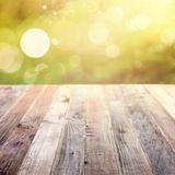 Spring rustic template background with bokeh Stock Images