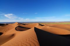 Spring in the Sahara. A view of the sand dunes of the Sahara desert in Morocco,  with a green strip of spring plant life in the background because of a good Stock Photography