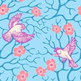 Spring sakura blossom and flying birds seamless pattern Japanese and Chinese style. Eps-8 vector illustration