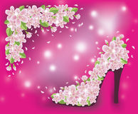 Spring sakura shoes wallpaper, vector Stock Photography
