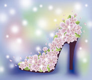 Spring sakura shoes wallpaper, vector Stock Image