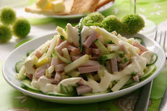 Spring salad. Salad made of ham, apples and fresh cucumbers Royalty Free Stock Images