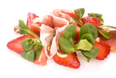 Spring salad. Salad with strawberry and ham Royalty Free Stock Photos