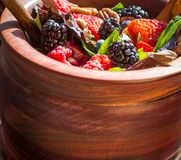 Spring Salad. Blackberry, blueberry, strawberry, pecans and greens make a healthy, nutrient packed and delicious salad Stock Image