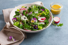 Spring salad with edible flower Royalty Free Stock Image