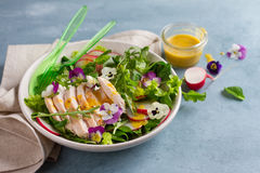 Spring salad with radishes, chicken breast and edible flower Royalty Free Stock Photography