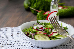 Spring salad of radishes, cucumbers. Preparation of the spring salad of radishes, cucumbers. healthy eating concept Stock Photo