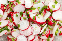 Spring salad with radishes and green onions. Fresh traditional dish of Slavic cuisine Royalty Free Stock Photo