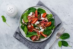 Spring Salad with spinach, cherry tomato, mozzarella, pine nuts and ham with olive oil in a simple ceramic plate. On an old concrete gray background royalty free stock photography