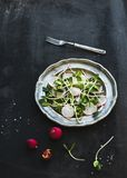 Spring salad with sunflower sprouts and radish in Stock Image