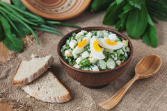 Spring salad with wild leak, eggs and mayonnaise Stock Photo