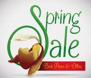 Spring Sale Advertising with Exotic Orchid, Vector Illustration Stock Image