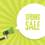 Spring Sale Announcement Megaphone in Retro BackgroundVector Illustration Royalty Free Stock Images
