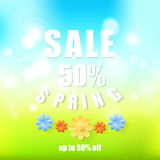 Spring sale background. Spring sale background Abstract spring background with paper flowers.Spring 50 discount Stock Photography