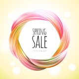 Spring sale background banner with beautiful colorful brush abstraction. Vector illustration. Spring sale background banner with beautiful colorful brush Stock Photo