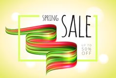 Spring sale background banner with beautiful colorful brush abstraction. Vector illustration. Spring sale background banner with beautiful colorful brush Royalty Free Stock Image