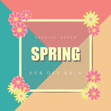 Spring sale background banner with beautiful colorful flower. Vector illustration.Layout template for your designs Royalty Free Stock Images