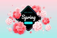 Spring sale background banner with beautiful flowers vector. Spring sale background banner with beautiful flowers - pink and green gradient background - colorful Stock Photos