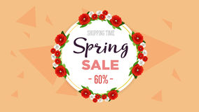 Spring sale background banner with colorful flowers. 60 percent Off. Vector illustration. Spring sale background banner with colorful flowers. 60 percent Off Stock Photo