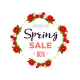 Spring sale background banner with colorful flowers. 60 percent Off. Vector illustration. Spring sale background banner with colorful flowers. 60 percent Off Royalty Free Stock Photography