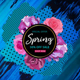 Spring sale background with beautiful colorful flower. Vector il Stock Images