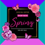 Spring sale background with beautiful colorful flower. Vector il Royalty Free Stock Images