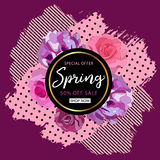Spring sale background with beautiful colorful flower. Vector  Stock Photos