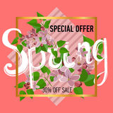 Spring sale background with beautiful colorful flower. Vector illustration template.banners.Wallpaper.flyer, invitation, poster, voucher discount Royalty Free Stock Photos