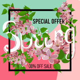 Spring sale background with beautiful colorful flower. Vector illustration template.banners.Wallpaper.flyer, invitation, poster, voucher discount Stock Photos