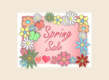 Spring sale background with beautiful colorful flower Stock Image