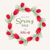 Spring sale background with beautiful colorful flower. Vector illustration template, banners. Wallpaper, flyers Stock Image