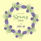 Spring sale background with beautiful colorful flower. Vector illustration template, banners. Wallpaper, flyers Royalty Free Stock Photography