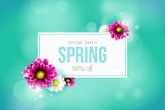 Spring sale background with beautiful colorful flower. Vector illustration template.Wallpaper. Flyers, invitation, posters, brochure, voucher discount Stock Images
