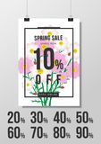 Spring sale background with beautiful flower,vector illustration. Template, banners, Wallpaper, invitation, posters, brochure, voucher discount Royalty Free Stock Photo