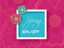 Spring sale background with colorful flower. Pink blue layout template. Card, banner, flyer, poster, brochure or voucher discount Stock Images