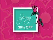 Spring sale background with colorful flower - rose. Pink layout template. Card, banner, flyer, poster, brochure or voucher discoun Royalty Free Stock Images