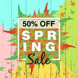 Spring sale background with colorful leaf for spring offer 50% off royalty free illustration