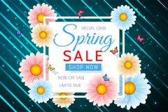 Spring sale background design with beautiful colorful flower. Vector floral design template for coupon, banner, voucher or promoti. Onal poster stock illustration