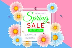 Spring sale background design with beautiful colorful flower. Vector floral design template for coupon, banner, voucher or promoti. Onal poster royalty free illustration