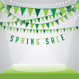 Spring sale Background with flags stage and spotlights on your message. EPS 10 vector royalty free stock illustration for ad, promotion, poster, flier, blog Royalty Free Stock Images