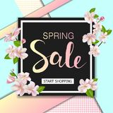 Spring sale background with flowers. Season discount banner design with cherry blossoms and petals. Stock Image