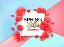 Spring sale background with flowers. Season discount banner design with red roses and petals. Royalty Free Stock Image